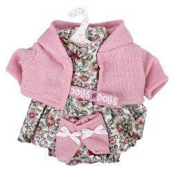 Ropa para Muñecas Llorens 33 cm - Conjunto estampado flores con chaqueta y peúcos rosa