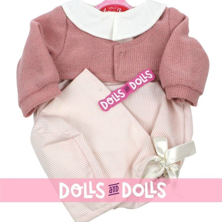Antonio Juan doll Outfit 40-42 cm - Pink striped romper with hood and jacket