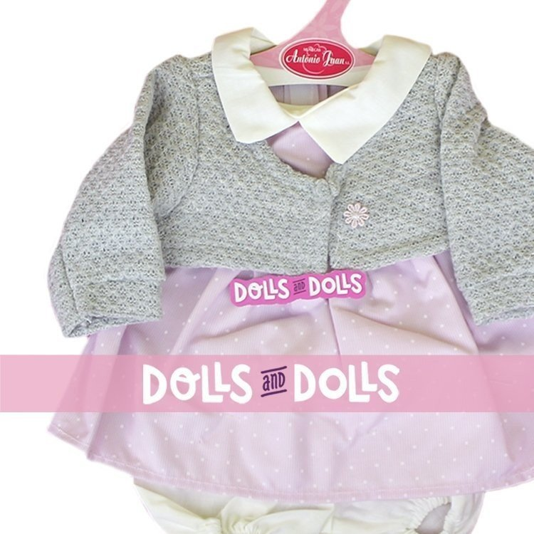 Antonio Juan doll Outfit 40-42 cm - Dots printed dress with grey knitted jacket