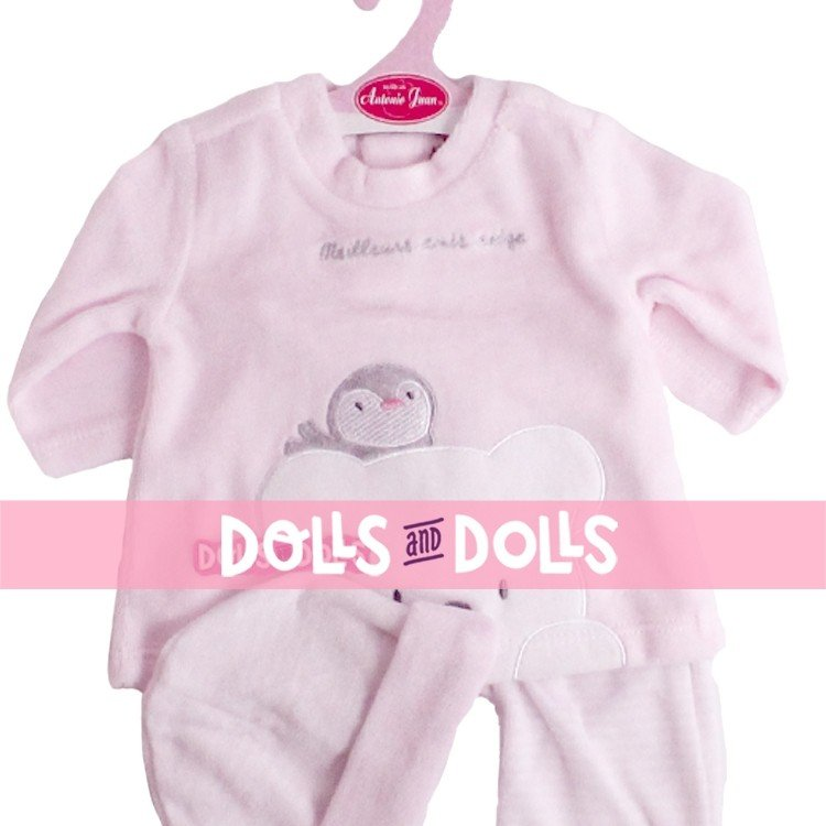 Antonio Juan doll Outfit 52 cm - Mi Primer Reborn Collection - Penguin pink pyjamas with hat