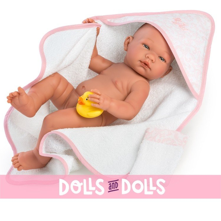 Así doll Complements 36 to 43 cm - Pink bath cape with accessories