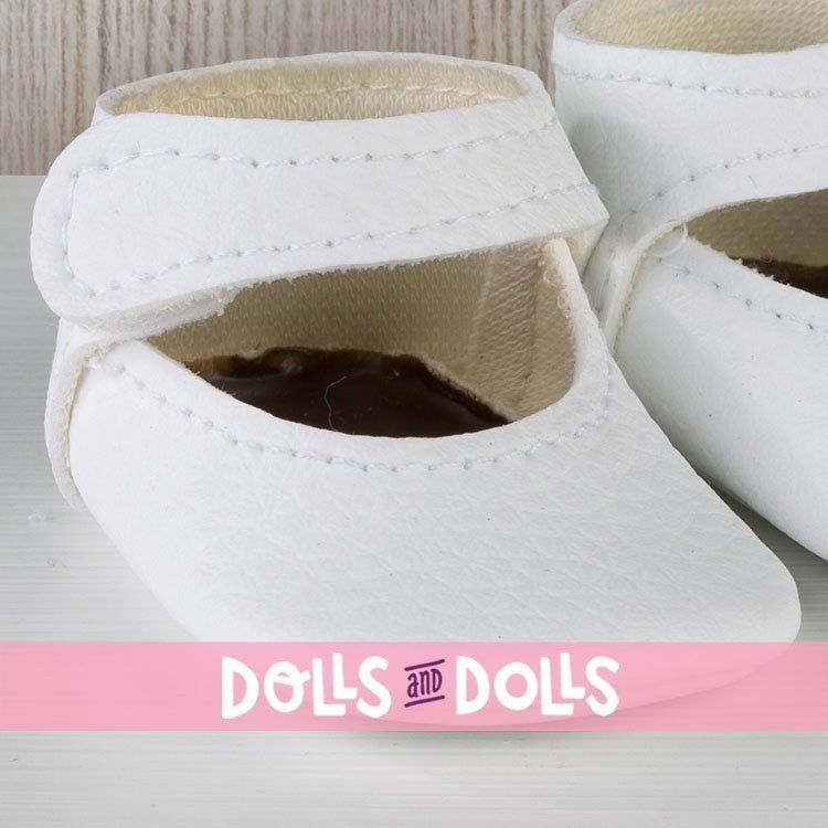 Así doll Complements 43 to 46 cm - White bootie shoes for María, Pablo, Leo, Real Reborn and Limited Series dolls