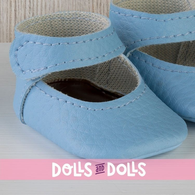 Así doll Complements 43 to 46 cm - Light blue bootie shoes for María, Pablo, Leo, Real Reborn and Limited Series dolls