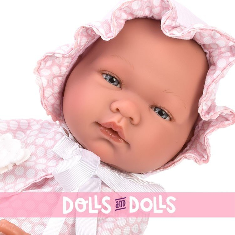 Así doll 43 cm - Maria with pique pink dress with white circles