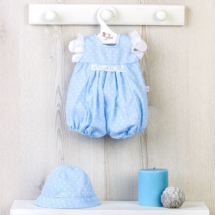 Así doll Outfit 43 cm - Light blue romper with white dots for Pablo doll