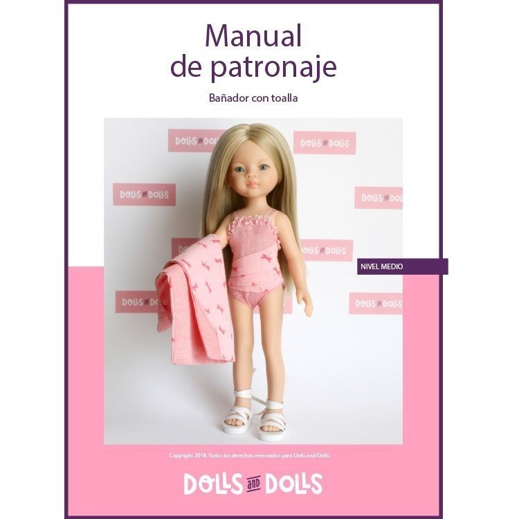 Dolls And Dolls downloadable pattern for Las Amigas dolls - Bathing suit with towel