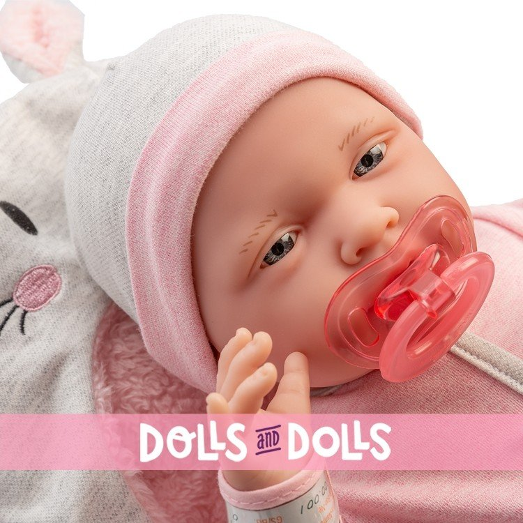 Berenguer Boutique doll 39 cm - 18789 The newborn with pink outfit, bunny blanket and accessories