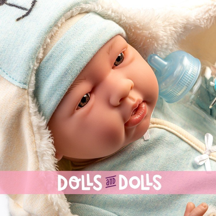 Berenguer Boutique doll 39 cm - 18790 The newborn with blue outfit, bear blanket and accessories