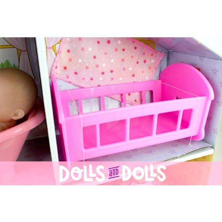 Cardboard house with dolls and accessories - Designed by Berenguer - Lots to Love Babies