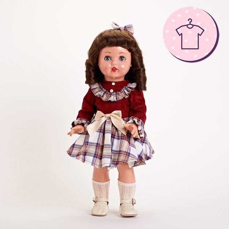 Outfit for Mariquita Pérez doll 50 cm - Burgundy plaid dress