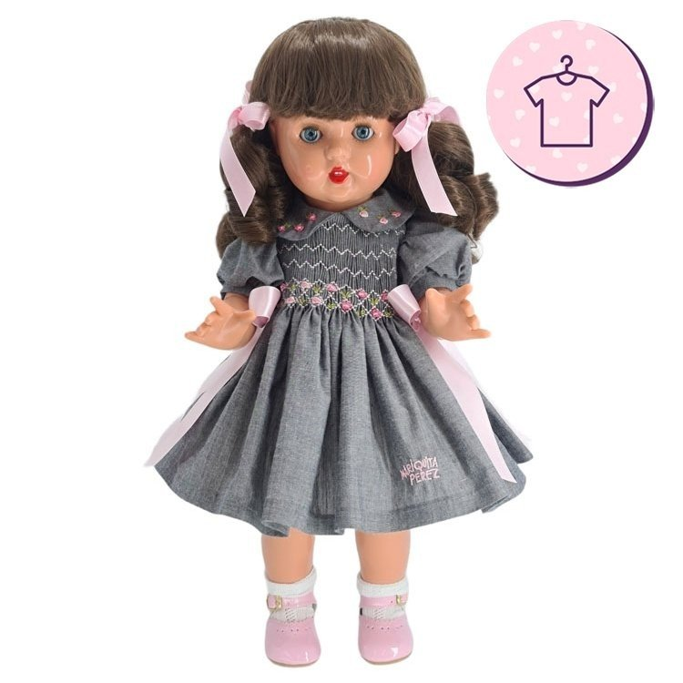 Outfit for Mariquita Pérez doll 50 cm - Gray and pink dress