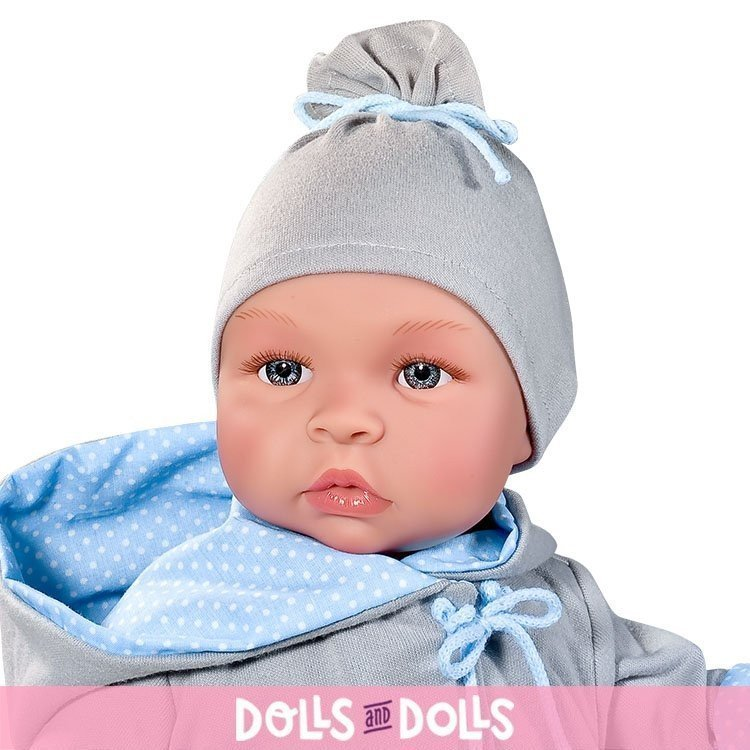 Así doll 46 cm - Leo with gray and blue reversible jacket