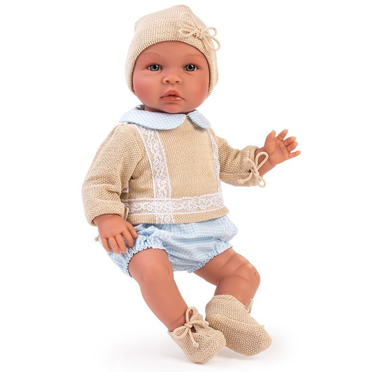 Así doll 46 cm - Leo with knitted beige outfit with light blue squares