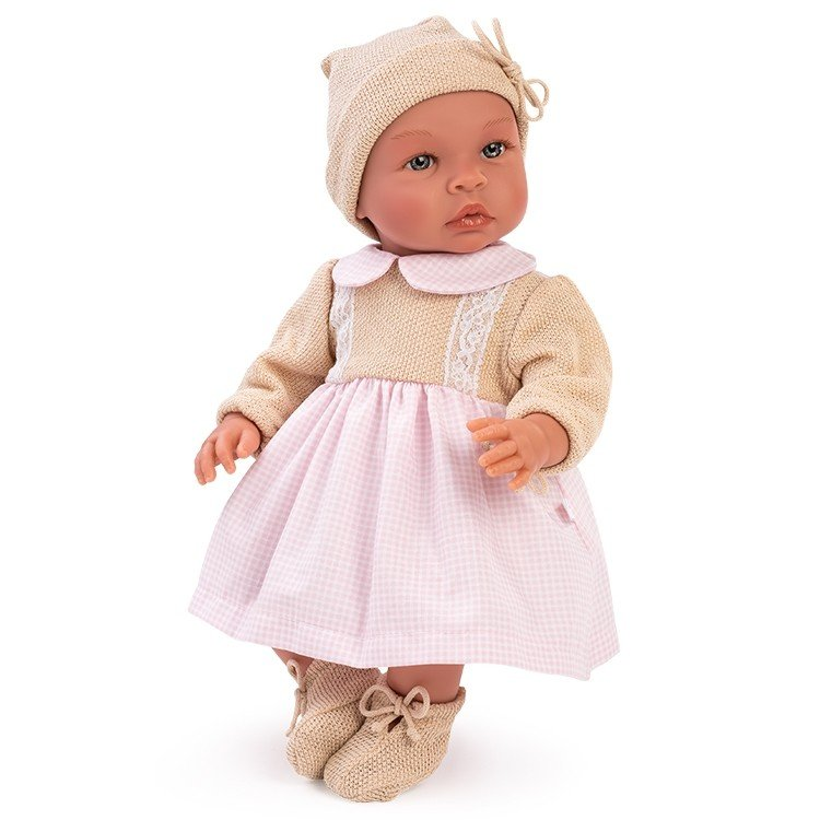 Así doll 46 cm - Leo with beige knitted dress with pink squares