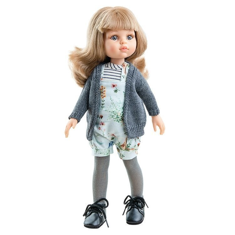 Paola Reina doll 32 cm - Las Amigas - Carla with flower romper and gray jacket