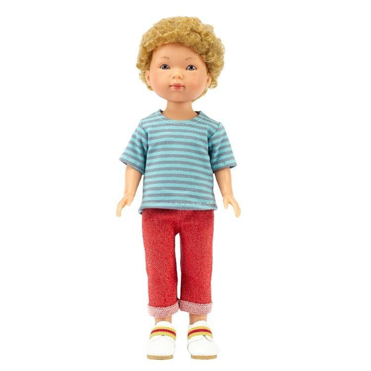 Vestida de Azul doll 28 cm - Los Amigos de Carlota - Hugo with red jeans and striped t-shirt