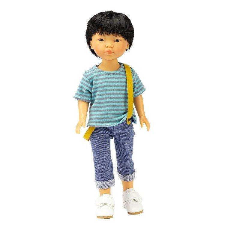 Vestida de Azul doll 28 cm - Los Amigos de Carlota - Kenzo with jeans, striped shirt and suspenders