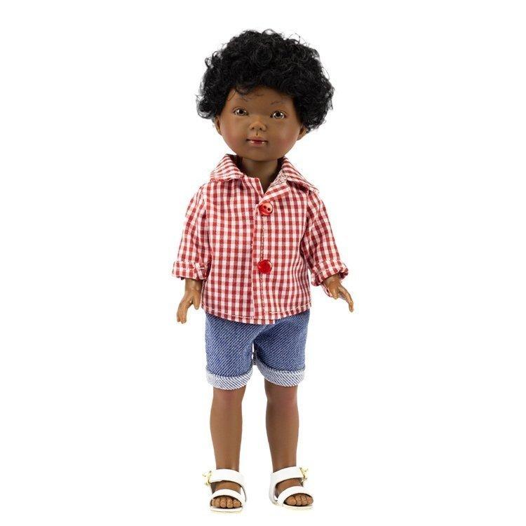 Vestida de Azul doll 28 cm - Los Amigos de Carlota - Omar with jeans shorts and red vichy shirt