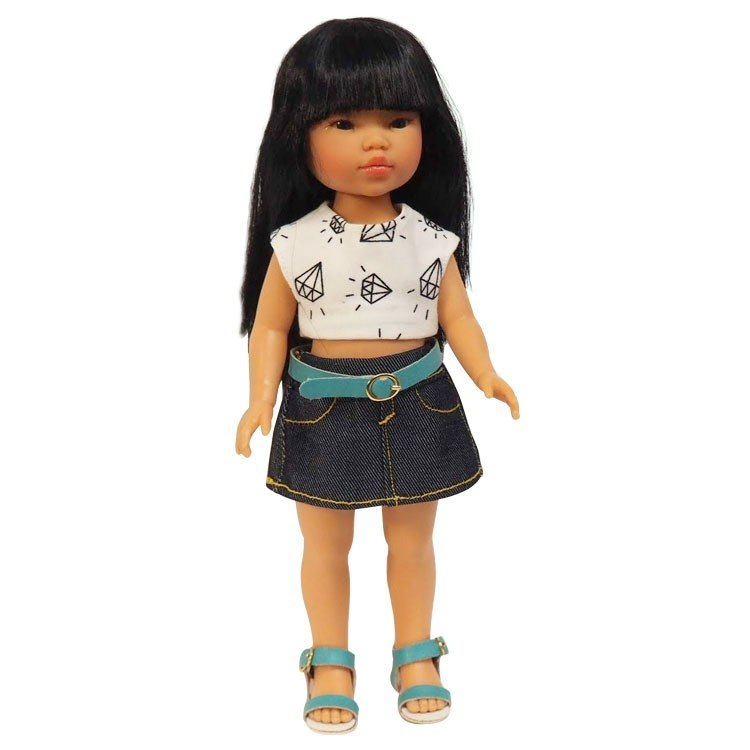 Vestida de Azul doll 28 cm - Los Amigos de Carlota - Umi with jeans skirt and printed t-shirt