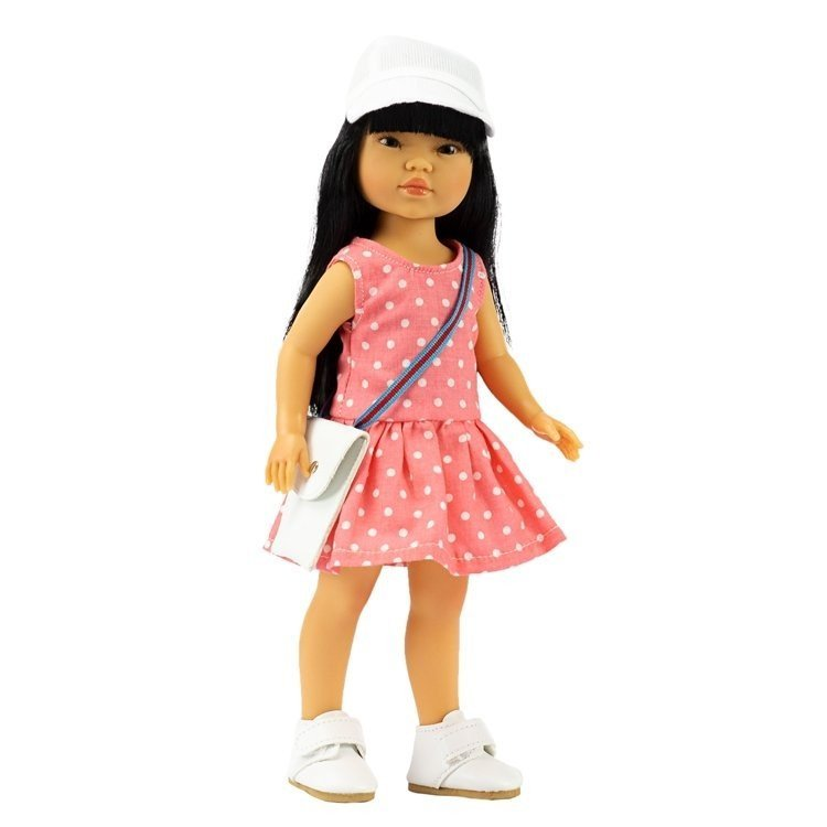 Vestida de Azul doll 28 cm - Los Amigos de Carlota - Umi with salmon dress, cap, trainers and bag