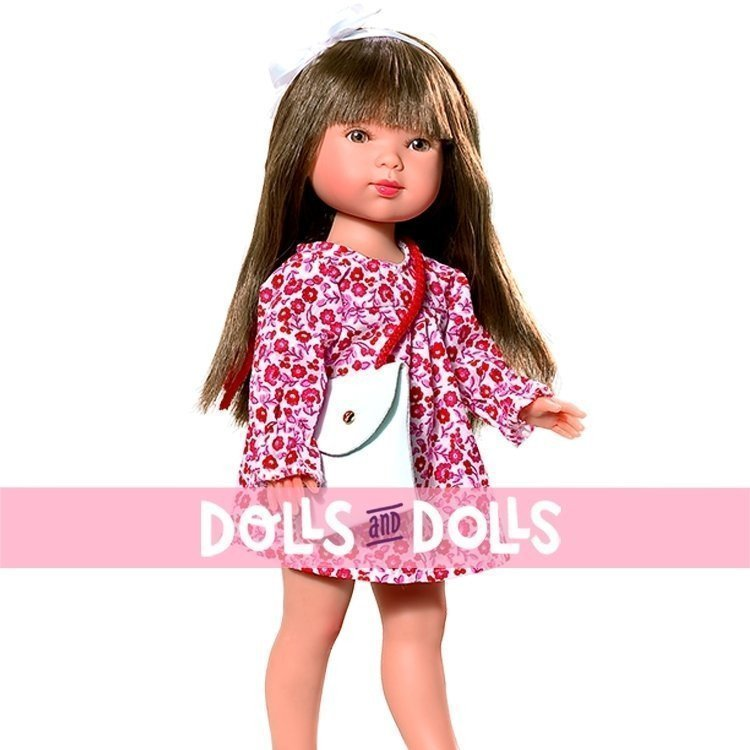 Vestida de Azul doll 28 cm - Carlota brunette with flowers printed dress