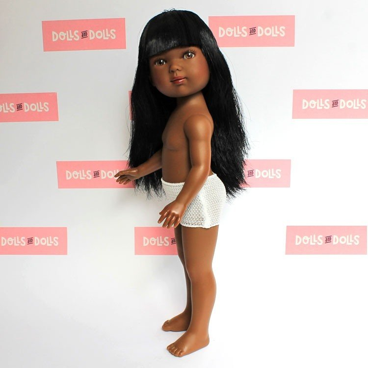 Vestida de Azul doll 28 cm - Carlota african-american with straight hair and fringe without clothes