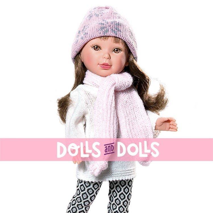 Vestida de Azul doll 33 cm - Paulina brunette with scarf and hat