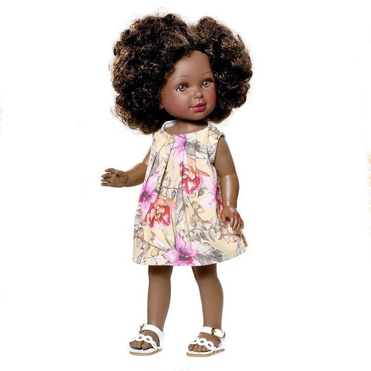 Vestida de Azul doll 33 cm - Paulina african american with flower printed dress