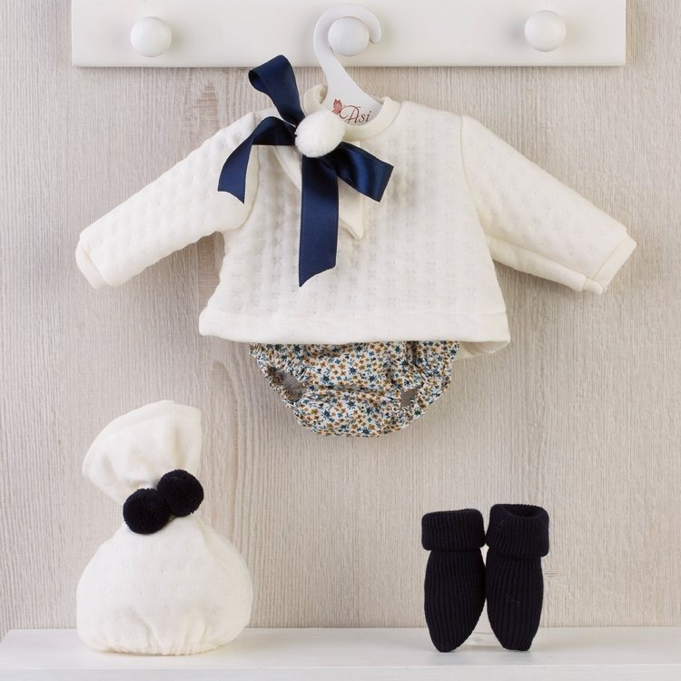 Así doll Outfit 46 cm - Blue floral bloomers with beige sweater for Leo doll