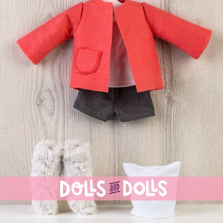 Outfit for Así doll 40 cm - Short, orange jacket, boots and hat for Sabrina doll
