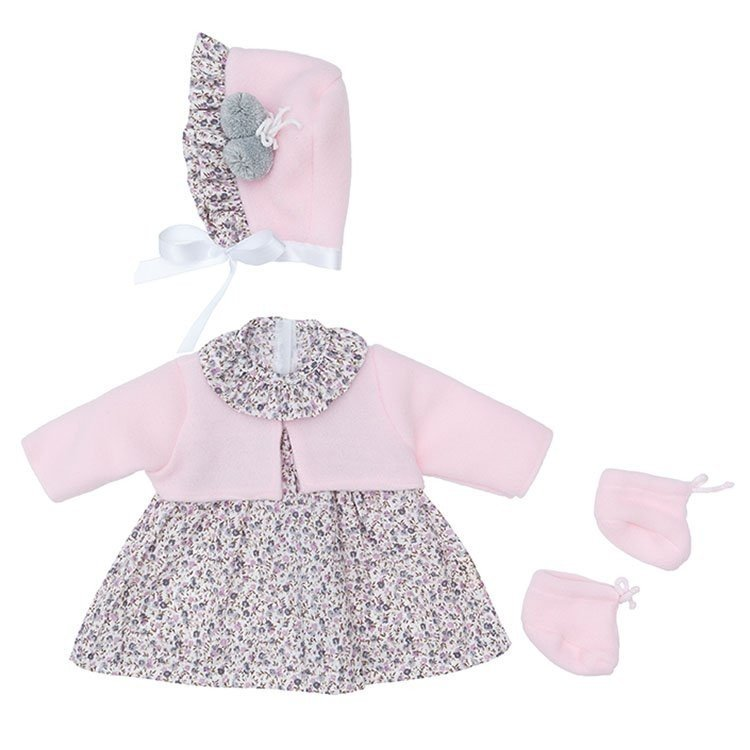 Outfit for Así doll 46 cm - Grey flowers dress with pink jacket with hat and booties for Leo
