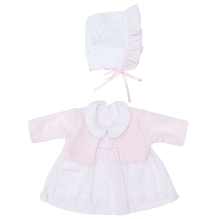 Outfit for Así doll 46 cm - Mini rhombuses pink dress with pink jacket with hat for Leo