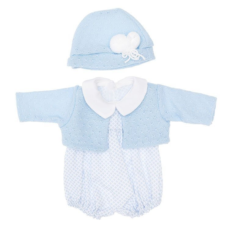 Outfit for Así doll 46 cm - Mini rhombuses light blue rompers with light blue jacket with hat for Leo