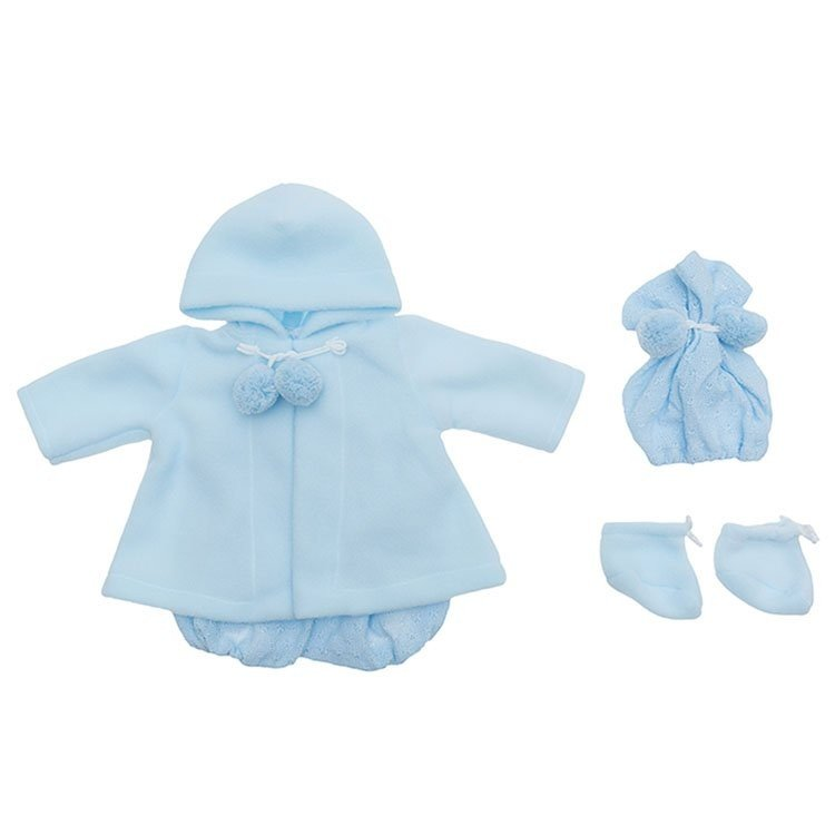 Outfit for Así doll 46 cm - Blue knitted romper  with duffle coat, hat and booties for Leo