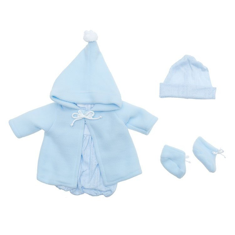 Outfit for Así doll 43 cm - Light blue knitted rompers, duffle coat, hat and booties for Pablo doll