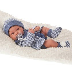 Antonio Juan doll 42 cm - Newborn boy Pipo brunet with cushion