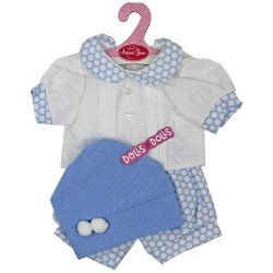 Antonio Juan doll Outfit 40-42 cm - Blue outfit with white dots and hat