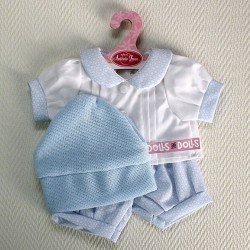 Antonio Juan doll Outfit - Light blue and white set with hexagons printed with hat 40-42 cm