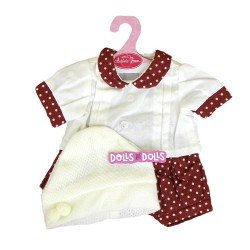 Antonio Juan doll Outfit 40-42 cm - Dots printed outfit with hat