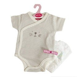 Antonio Juan doll Outfit 40 - 42 cm - Sweet Reborn Collection - Grey strips printed body with nappy