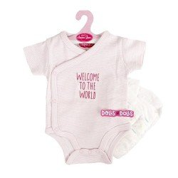 Antonio Juan doll Outfit 40 - 42 cm - Sweet Reborn Collection - Pink strips printed body with nappy