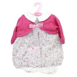 Antonio Juan doll Outfit 55 cm - Flower printed outfit with raspberry jacket
