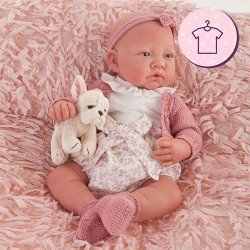 Antonio Juan doll Outfit 40 - 42 cm - Sweet Reborn Collection - Pink knitted and flower outfit with headband