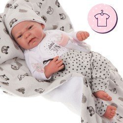Antonio Juan doll Outfit 40 - 42 cm - Sweet Reborn Collection - Gray panda outfit with hat