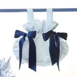 Bebelux pique white bag with navy satin ties