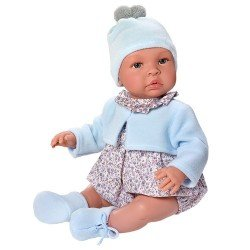 Así doll 46 cm - Leo with grey flowers rompers with light blue jacket