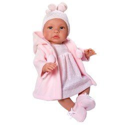 Así doll 46 cm - Leo with pink knitted dress and pink duffle coat