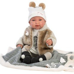 Llorens doll 44 cm - Crying Tina with blanket