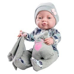 Paola Reina doll 45 cm - Bebita with bear printed grey outfit