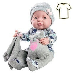 Paola Reina doll Outfit 32 cm - Bebitos - Bear printed grey outfit with blanket and stuffed toy